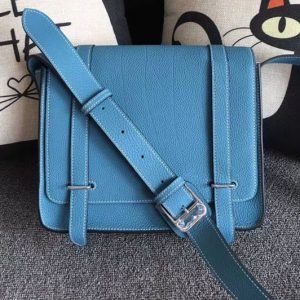 Replica Mens Hermes Steve 28mm Messenger Bags Original Togo Leather Blue