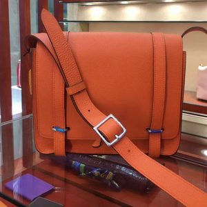 Replica Mens Hermes Steve 28mm Messenger Bags Original Togo Leather Orange