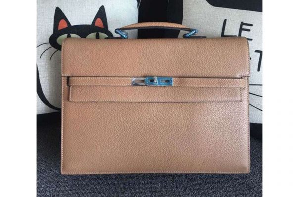 Replica Hermes Kelly Depeche 37mm Briefcase Bags Original Togo Leather Apricot
