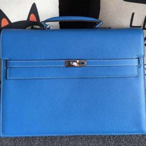 Replica Hermes Kelly Depeche 37mm Briefcase Bags Original Togo Leather Blue