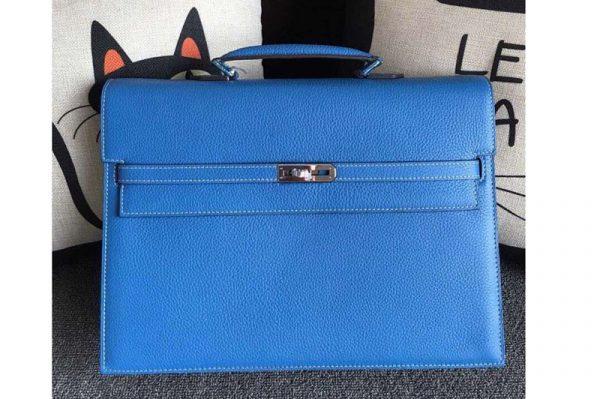 Replica Hermes Kelly Depeche 37mm Briefcase Bags Original Togo Leather Blue