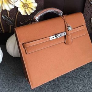 Replica Hermes Kelly Depeche 37mm Briefcase Bags Original Togo Leather Brown
