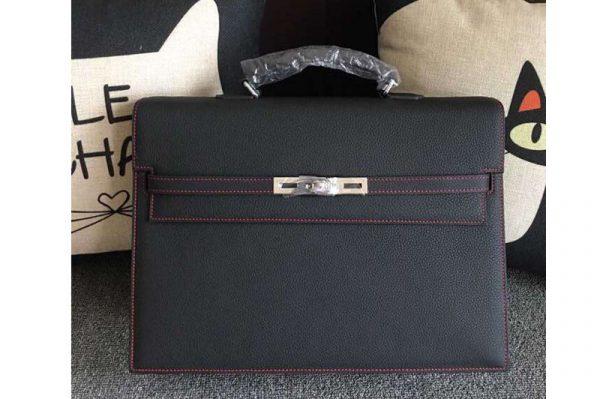 Replica Hermes Kelly Depeche 37mm Briefcase Bags Original Togo Leather Black