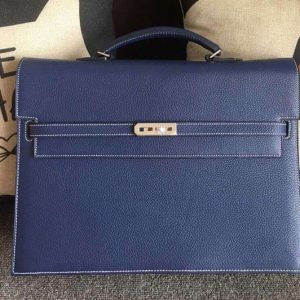 Replica Hermes Kelly Depeche 37mm Briefcase Bags Original Togo Leather Royal Blue
