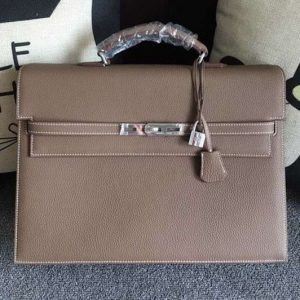 Replica Hermes Kelly Depeche 37mm Briefcase Bags Original Togo Leather Grey