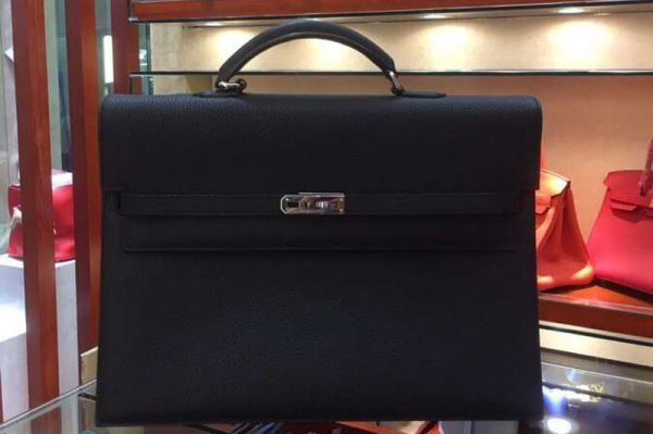Replica Hermes Kelly Depeche 37mm Briefcase Bags Original Togo Leather Black