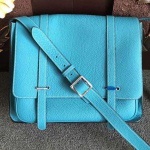 Replica Mens Hermes Steve 32cm Messenger Bags Original Togo Leather Light Blue