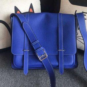 Replica Mens Hermes Steve 32cm Messenger Bags Original Togo Leather Blue