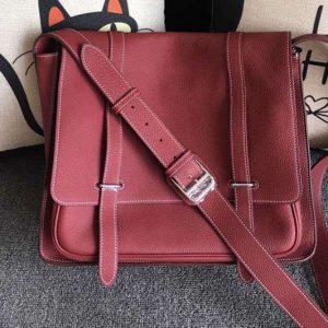 Replica Mens Hermes Steve 32cm Messenger Bags Original Togo Leather Wine