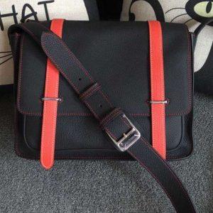 Replica Mens Hermes Steve 32cm Messenger Bags Original Togo Leather Black And Red