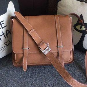 Replica Mens Hermes Steve 32cm Messenger Bags Original Togo Leather Tan
