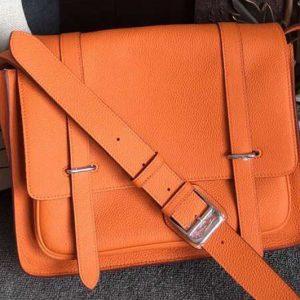 Replica Mens Hermes Steve 32cm Messenger Bags Original Togo Leather Orange