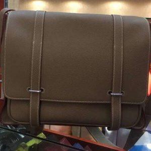 Replica Mens Hermes Steve 32cm Messenger Bags Original Togo Leather Elephant Gray