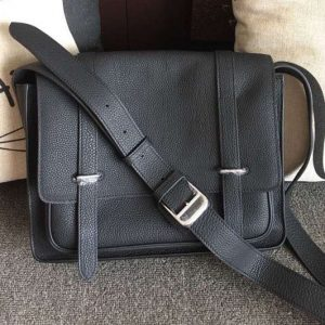 Replica Mens Hermes Steve 32cm Messenger Bags Original Togo Leather Black