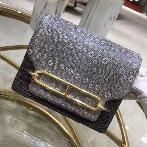 Replica Hermes Roulis 19 bags Handmade Real Crocodile and Lizard Leather Black