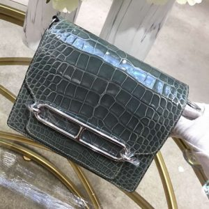 Replica Hermes Roulis 19 bags Handmade Real Crocodile Leather Gray