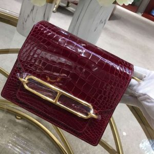 Replica Hermes Roulis 19 bags Handmade Real Crocodile Leather Wine