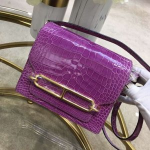 Replica Hermes Roulis 19 bags Handmade Real Crocodile Leather Purple