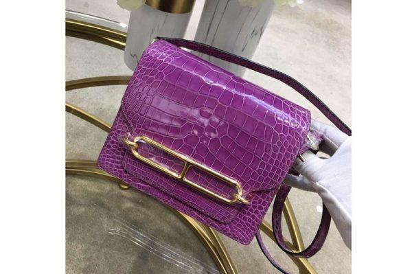 Replica Hermes Roulis 19 bags Handmade Real Crocodile Leather Purple
