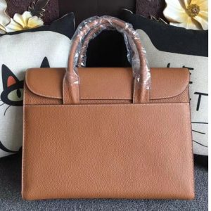 Replica Mens Hermes 38cm Messenger Bags Original Togo Leather Tan