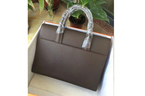 Replica Mens Hermes 38cm Messenger Bags Original Togo Leather Gray