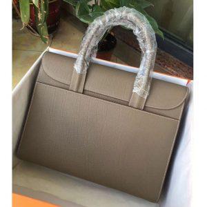Replica Mens Hermes 38cm Messenger Bags Original Togo Leather Grey