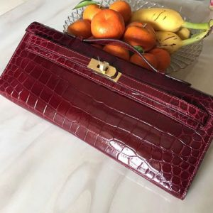 Replica Hermes Kelly Cut31CM Real Crocodile Leather Cluth Bags Handmade Wine