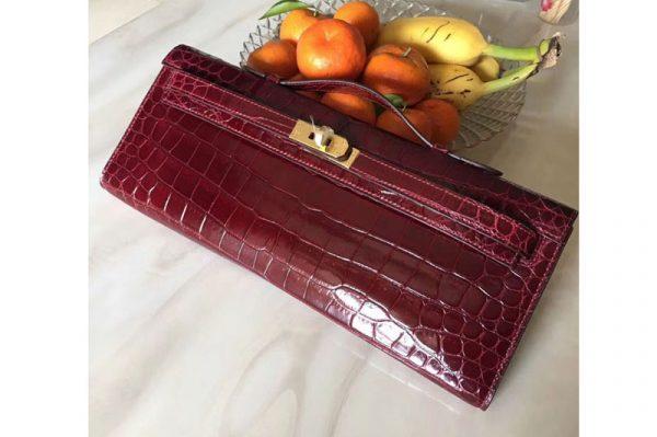 Replica Hermes Kelly Cut31CM Real Crocodile Leather Cluth Bags Handmade Wine