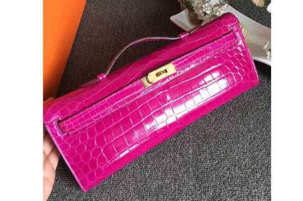 Replica Hermes Kelly Cut31CM Real Crocodile Leather Cluth Bags Handmade Rosy