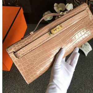 Replica Hermes Kelly Cut31CM Real Crocodile Leather Cluth Bags Handmade Apricot
