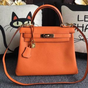 Replica Hermes Kelly 28 Tote Bags Original Togo Leather Full Handstitched Orange