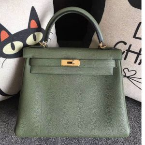 Replica Hermes Kelly 28 Tote Bags Original Togo Leather Handstitched Green