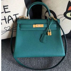 Replica Hermes Kelly 28 Tote Bags Original Togo Leather Handstitched Malachite Green