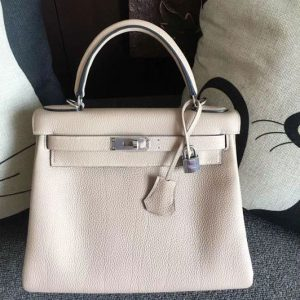 Replica Hermes Kelly 28 Tote Bags Original Togo Leather Handstitched Light Gray