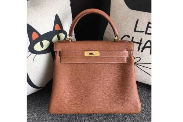 Replica Hermes Kelly 28 Tote Bags Original Togo Leather Handstitched Tan