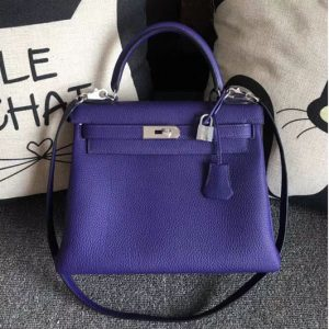 Replica Hermes Kelly 28 Tote Bags Original Togo Leather Handstitched Purple