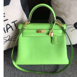 Replica Hermes Kelly 28 Tote Bags Original Togo Leather Handstitched Candy Green