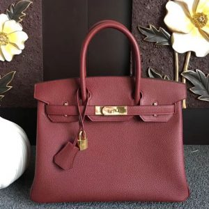 Replica Hermes Birkin 30 Tote Bags Original Togo Leather Handstitched Wine Gold Hardware