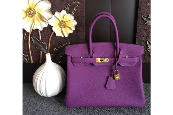 Replica Hermes Birkin 30 Tote Bags Original Togo Leather Handstitched Purple