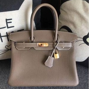 Replica Hermes Birkin 30 Tote Bags Original Togo Leather Handstitched Gray
