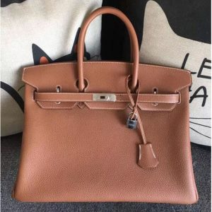 Replica Hermes Birkin 30 Tote Bags Original Togo Leather Handstitched Tan