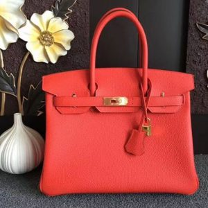 Replica Hermes Birkin 30 Tote Bags Original Togo Leather Handstitched Red