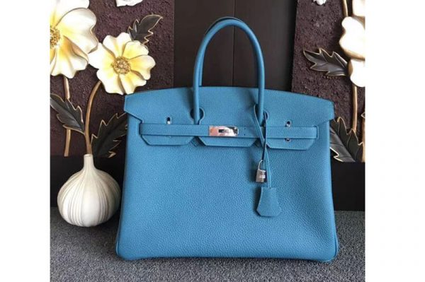 Replica Hermes Birkin 30 Tote Bags Original Togo Leather Handstitched Blue Jeans