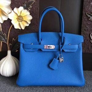 Replica Hermes Birkin 30 Tote Bags Original Togo Leather Handstitched Blue
