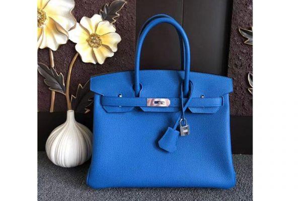 Replica Hermes Birkin 30 Tote Bags Original Togo Leather Handstitched Blue