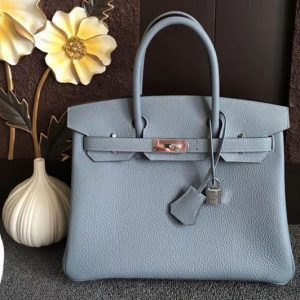 Replica Hermes Birkin 30 Tote Bags Original Togo Leather Handstitched Light Blue