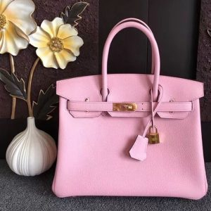 Replica Hermes Birkin 30 Tote Bags Original Togo Leather Handstitched Pink