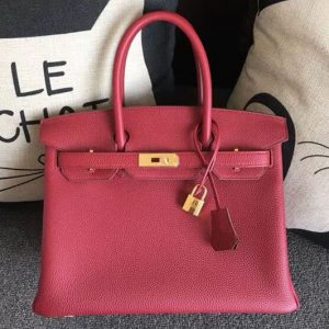 Replica Hermes Birkin 30 Tote Bags Original Togo Leather Handstitched Ruby Red