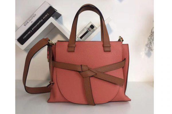 Replica Loewe Gate Top Handle Small Bags Original Leather Pink Tulip/Tan