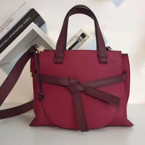 Replica Loewe Gate Top Handle Small Bags Original Leather Raspberry/Wine